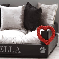 personalised luxury black wooden pet bed