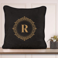 personalised Black and Gold Monogram Piped Cushion