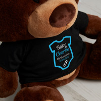 Personalised Blue Babygro Christening Chocolate Teddy Bear