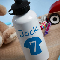Personalised Blue Football Shirt White Water Bottle