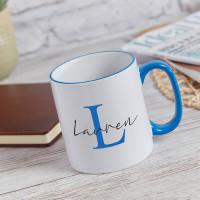 personalised Elegant Name Monogram Two Tone Mug Blue