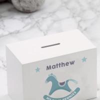 personalised Baby Boy's Rocking Horse Wooden Money Box