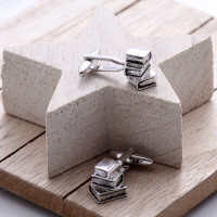personalised Pile of Books Cufflinks Gift Set