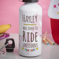 Personalised Born to Ride a Unicorn White Water Bottle