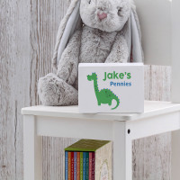 personalised Boys Dinosaur Wooden Money Box