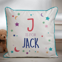 Personalised Moon & Stars Boy's Piped Edge Personalised Cushion