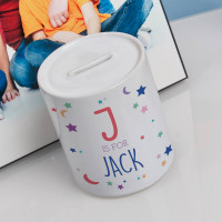 Personalised Moon & Stars Boy's Personalised Money Box