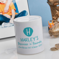 personalised Boys Pennies & Pounds Personalised Money Box