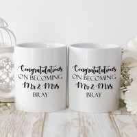 personalised bride and groom double durham mugs