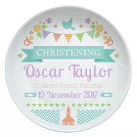 personalised Bunting Christening Plate