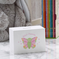 personalised Butterfly Wooden Money Box