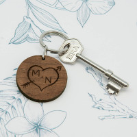 personalised Carved Tree Round Wooden Keyring