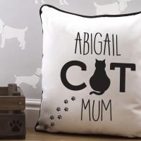 personalised Cat Mum Piped Cushion