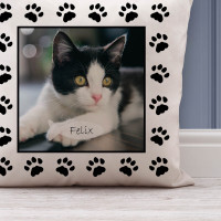 personalised Cat Paw Photo Cushion