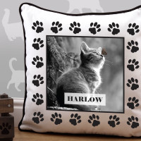 personalised Cat Paw Border Piped Edge Photo Cushion