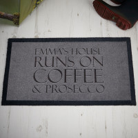 personalised coffee and prosecco doormat