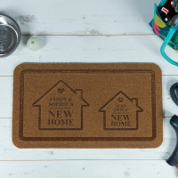personalised Couple & Dog New Home Outdoor Engraved Doormat
