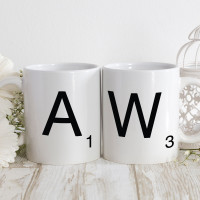 personalised initial mathing mugs