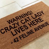 personalised Crazy Cat Lady Coir Doormat
