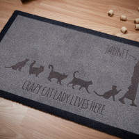 personalised Crazy Cat Lady Lives Here Doormat