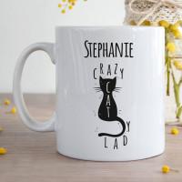 Personalised Crazy Cat Lady Durham Mug