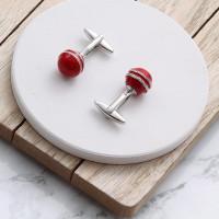 personalised cricket ball cufflinks
