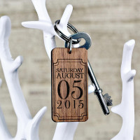 personalised Rectangle special Date Wooden Keyring