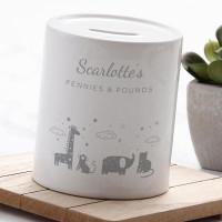 personalised Cute Animals Money Box