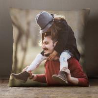 personalised 12x12 photo cushion Side