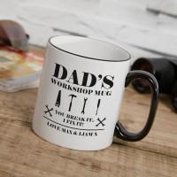 personalised Dad's Workshop Two Tone Mug Black