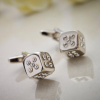 Personalised Diamante Dice Cufflinks