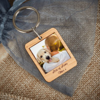 personalised wooden photo keyring
