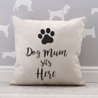 personalised Dog Mum Sits Here Cotton Cushion