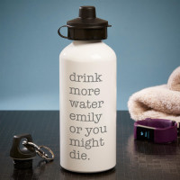 personalised Drink More Water White Water Bottle