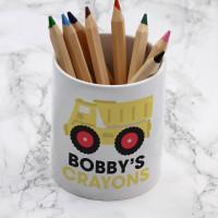 personalised Dumper Truck Pen Pot