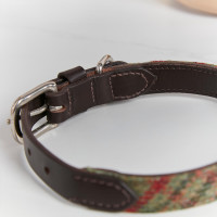 personalised Classic Green Tweed Dog Collar