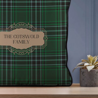 personalised Family Name Green Tartan Piped Cushion