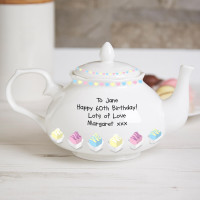 Personalised Fancy Cakes 60th Fine Bone China Traditional Teapot