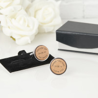 personalised Father of the Bride Round Wooden Cufflinks