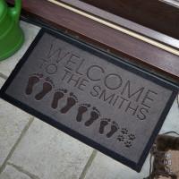 personalised footprint family doormat