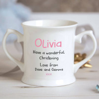 personalised Girl Dinosaur Christening Mug