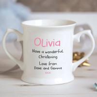 personalised Girl Dinosaur Christening Mug