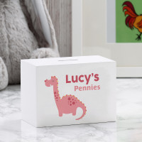 personalised Girls Dinosaur Wooden Money Box