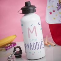 Personalised Girl's Moon & Stars White Water Bottle