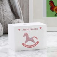 personalised Girl's Rocking Horse Wooden Money Box