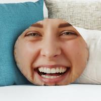 "personalised Girl Face Round Photo Cushion 18"""