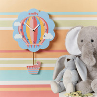 personalised Pink Hot Air Balloon Pendulum Clock
