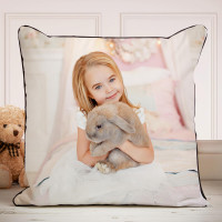 personalised photo piped cushion