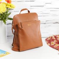 personalised Leather Backpack Shoulder Bag Brown