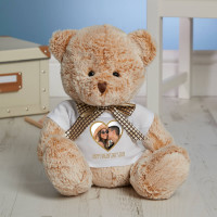 personalised Gold Heart Photo Fluffy Fudge Teddy Bear